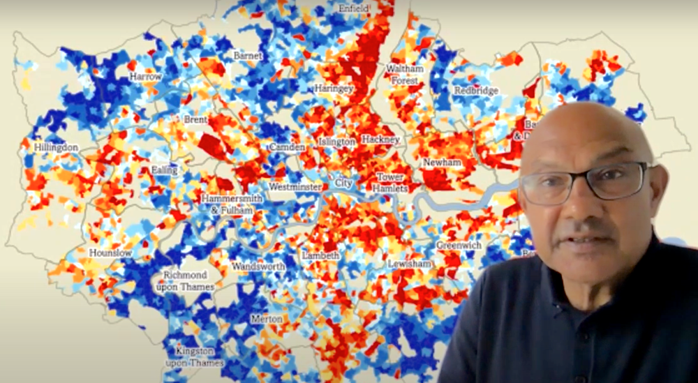 Bharat in front of the Index of Multiple Deprivation map